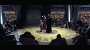 Qui-Gon, Obi-Wan, and Anakin stand before the Jedi Council Photo Credit - Star Wars Episode I: The Phantom Menace