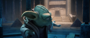 Master Yoda standing in front of the entrance to the crystal caves on the planet Ilum Photo Credit - Star Wars The Clone Wars: Season 5, Episode 6 -