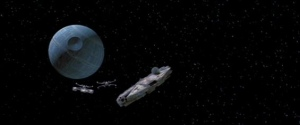 The survivors of the Battle of Yavin, INCLUDING A LONE Y-WING, fly away from the Death Star before it explodes. Photo Credit - Star Wars Episode IV: A New Hope