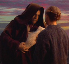 Baby Luke being given to Aunt Beru Photo Caption - Star Wars Episode III: Revenge of the Sith