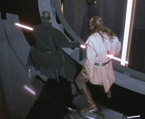 Darth Maul stabs Qui-Gon Jinn Photo Credit - Star Wars Episode I: The Phantom Menace