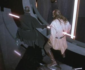 Darth Maul stabs Qui-Gon Jinn Photo Credit - Star Wars Episode I: The Phantom Menace