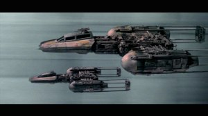 Y-Wings of Gold Squadron fly down the Death Star trench Photo Credit - Star Wars: Episode IV: A New Hope