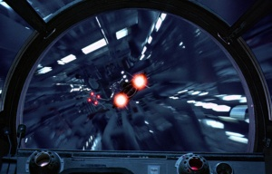View looking out of the Falcon's cockpit - Wedge Antilles (X-Wing) and Jake Farrell (A-Wing)  Photo Credit - Star Wars Episode VI: Return of the Jedi