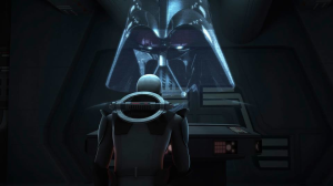"The Inquisitor from Rebels Season 1 speaks with Darth Vader Photo Credit - Star Wars Rebels: Season 1, Episode 1 - ""Spark of Rebellion"""