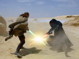 Master Jinn and Darth Maul battle on Tatooine. Photo Credit - Star Wars Episode I: The Phantom Menace