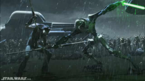 Tarpals and Grevious battle in the rain Photo Credit - Star Wars The Clone Wars (Season 4, Episode 4),