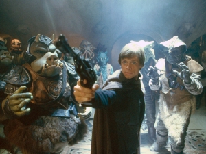 Luke pulls a gun on Jabba Photo Credit - Star Wars Episode VI: Return of the Jedi