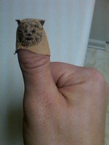 Derek Waddell's thumb looks better with an Ewok band-aid.