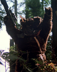 Flitchee holds up a Stormtrooper blaster in triumph. Photo Credit - Star Wars Episode VI: Return of the Jedi