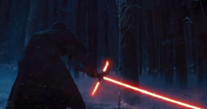 Kylo Ren ignites his lightsaber. Photo Credit - Star Wars Episode VII: The Force Awakens