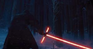 Kylo Ren ignites his lightsaber. Photo Credit - Star Wars Episode VII: The Force Awakens