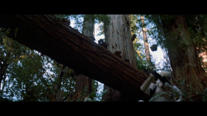 Ewoks throw rocks onto Stormtroopers. Photo Credit - Star Wars Episode VI: Return of the Jedi