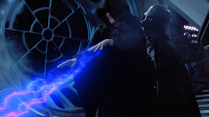 Anakin Skywalker lifts Sidious, preparing to hurl him into the depths of the Death Star. Photo Credit - Star Wars Episode VI: Return of the Jedi