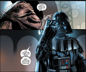 Lord Vader chastises Jabba the Hutt. Photo Credit: MARVEL Comics - Darth Vader Issue # 001