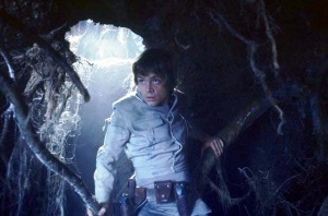 Luke descends into the cave on Dagobah, weapons anchored around his waist.  Photo Credit - Star Wars Episode V: The Empire Strikes Back