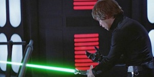 Looking at his right hand, Luke realizes just how far along the path of the Dark Side he has journeyed. Photo Credit - Star Wars Episode VI: Return of the Jedi
